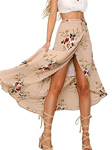 Womens Maxi Skirts,Vintage Boho Floral Print Tie Wrapped Beach Cover Up XL Pink (Wrap Skirt)