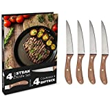 Book-Style Steak Knives Set of 4 - Pakka Wood Handles and Stainless Steel