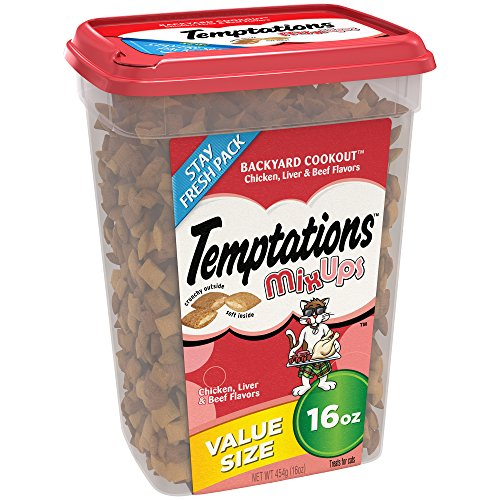 TEMPTATIONS MixUps Cat Treats BACKYARD COOKOUT Flavor 16 Ounces, With Our Mouthwatering Menu We Have a Flavor For Every Feline