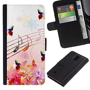 KLONGSHOP / Tirón de la caja Cartera de cuero con ranuras para tarjetas - Music Notes Pink Flowers Butterflies Nature - Samsung Galaxy Note 4 SM-N910