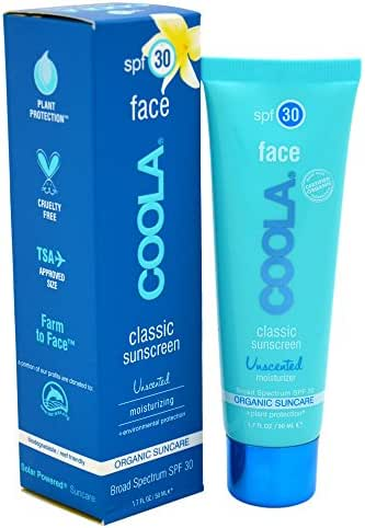 COOLA Organic Classic Unsented Daily Face Sunscreen Broad Spectrum SPF 30 Daytime Lotion +Sunscreen All-In-One Sheer Finish Lightweight Water Resistant Reef Friendly TSA Approved Travel Size
