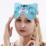 NEWGO®Hot Cold Eye Mask for Puffy Eyes, Reusable Cold Eye Mask with Gel Beads for Swollen Eyes, Migraines, Headache - Cat Blue