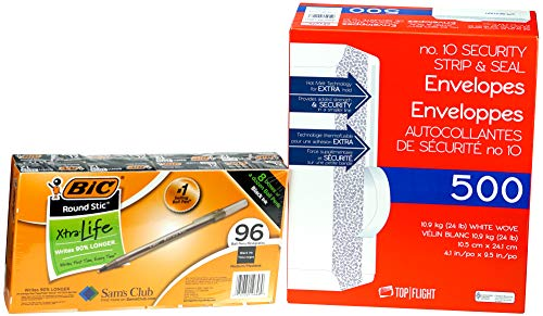Top Flight and Bic Set - Bundle of 2 Items: Top Flight No. 10 Security Strip & Seal Envelopes 9.5