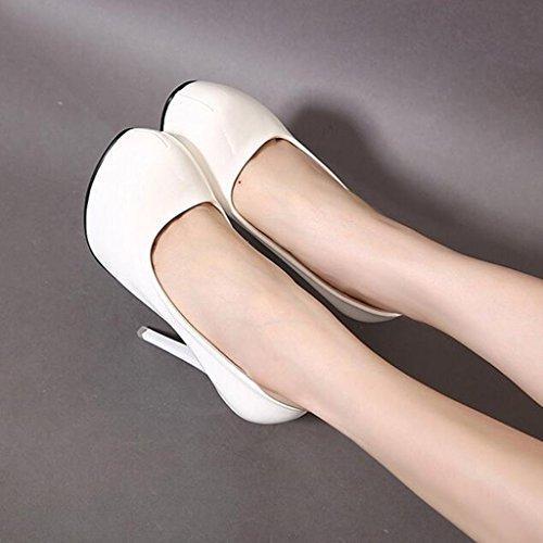 Piattaforma Modo Di Alti Scarpe Talloni tacchi Eleganti Cjc Impermeabile Bianca Baotou Alti Pendolari Tacchi Semplice Alti Sandali Sottili Sexy vzRqaww
