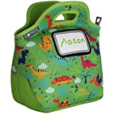 : Kids Dinosaur Neoprene Lunch Bag with ID Card Pocket | Identi-Tote by GOPRENE | Insulated, Reusable, Foldable, Washable, Color: GREEN DINO, + 3 Blank Name Cards