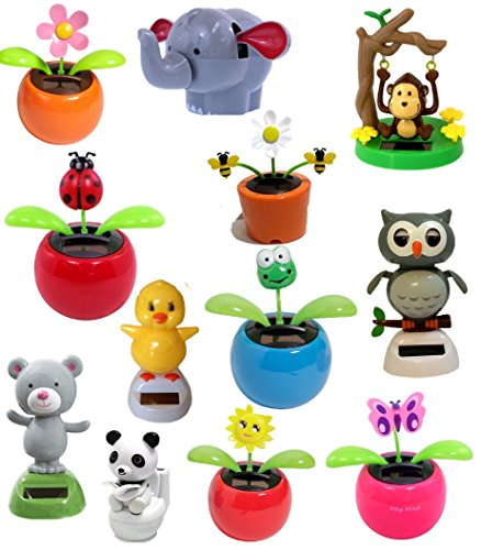 Set of 4 Assorted Dancing Solar Toys ~ Solar Toys are Daisy Flower, Lady Bug, Dancing Bear, Panda on Toilet and more! Great Holiday Christmas Gift Car Dashboard Office Desk Home Decor