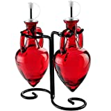 Couronne Company M075-250-06 Amphora Double Oil & Vinegar Glass Cruet Set w/ Stand, 6.1 oz 2, Red, 1 Piece
