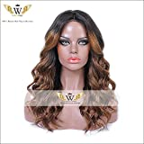 6A Brazilian 150 Density Nature Ombre Human Hair Lace Front Wigs With Baby Hair Glueless Full Lace Wigs For Black Woman (16Inch Lace Front)