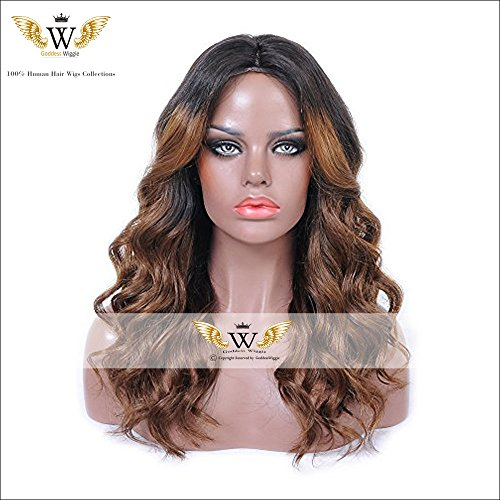 6A Brazilian 150 Density Nature Ombre Human Hair Lace Front Wigs With Baby Hair Glueless Full Lace Wigs For Black Woman (16Inch Lace Front) by Goddess