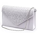 Gyeitee Women Rhinestone Frosted Evening Clutch Bag, Classic Pleated Envelope Clutch Shoulder Bag Handbag with Detachable Strap (Silver)