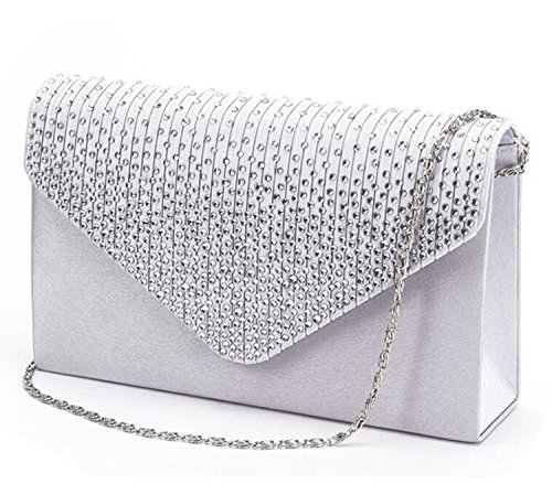 Gyeitee Women Rhinestone Frosted Evening Clutch Bag, Classic Pleated Envelope Clutch Shoulder Bag Handbag with Detachable Strap (Silver) (Pleated Evening Bag)