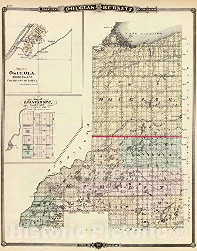 (Historic Map | 1878 Map of Douglas and Burnett counties, Osceola and Grantsburg, Wisconsin. | Vintage Wall Art | 44in x 56in)