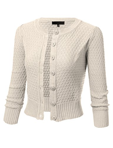 ARC Studio Womens Button Down 3/4 Sleeve Crewneck Cropped Knit Cardigan Crochet Sweater L Ivory
