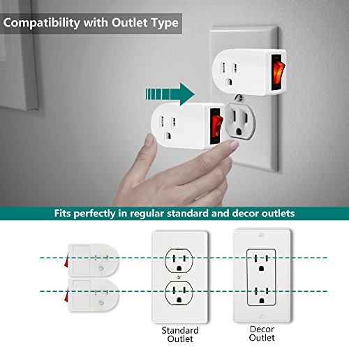 Grounded Outlet Adapter, ANKO ETL Listed Wall Tap Adapter with Red Indicator On/Off Power Switch (2 PACK) by ANKO (Image #2)