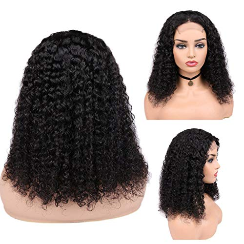 Hair Brazilian Curly Human Hair Lace Front 44 Closure Wigs Human Wig Glueless 10-18inch with 150% Density ForBlack Women,10 Inches,150%,Natural Black -