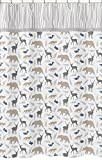 Sweet Jojo Designs Blue Grey and White Woodland Animals Bear Deer Fox Kids Bathroom Fabric Bath Shower Curtain