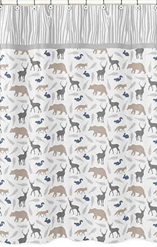 Sweet Jojo Designs Blue Grey And White Woodland Animals Bear Deer Fox Kids Bathroom Fabric Bath