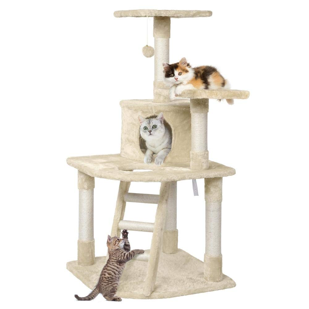 Yaheetech 48in Cat Tree Tower with Spacious Condo, Cozy Platform and Replaceable Dangling Ball(Beige by Yaheetech