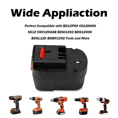 REEXBON [2 Pack] HPB12 12V 2.0Ah Replacement Battery Pack for Black and Decker HPB12 FS120BX FSB12 FS120B A1712 A12 BD12PSK SS12 BDID1202 XD1200K CDC120ASB HPD12K-2 Black & Decker 12 Volt Power Pack
