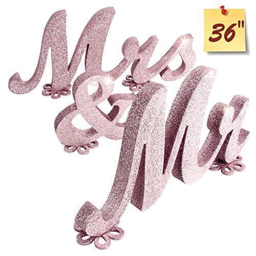 Mr and Mrs Sign Wedding decorations Mr & Mrs Sign Sweetheart Wedding Table Decorations Wooden letters Rose Gold Glitter, - Wooden Glitter