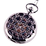 Black Pocket Watch Steampunk Skeleton Mechanical Movement Hand Wind Roman Numerals Cosplay PW-71 6