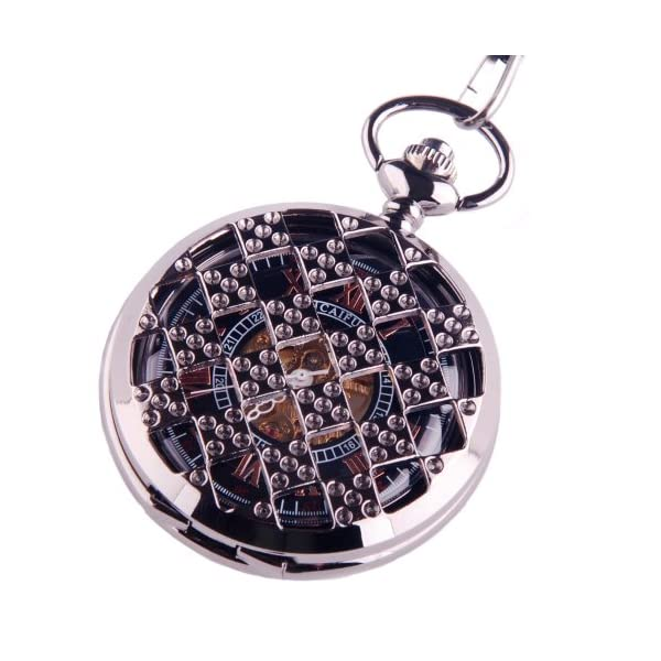 Black Pocket Watch Steampunk Skeleton Mechanical Movement Hand Wind Roman Numerals Cosplay PW-71 3