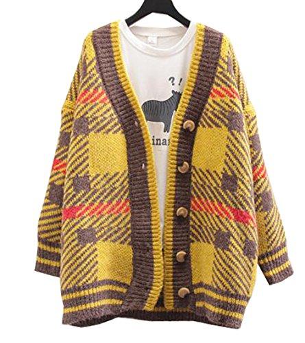 GuDeKe 暖春 ニット レディース カーディガン セーター コート トップス ロング ジャケット ストライプ カットソー ゆったり 柔らかい 着痩せ 上着 学院風