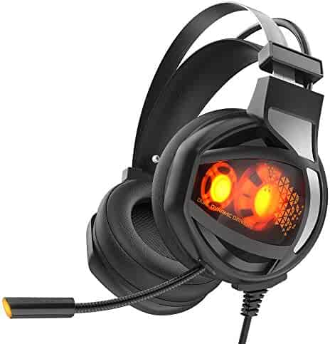 GAKOV Gaming Headset, GAV9 7.1 Stereo Wired Computer Headphones with Micro,LED Light,Bass Surround,Soft Memory Earmuffs for Laptop/Mac/Computer