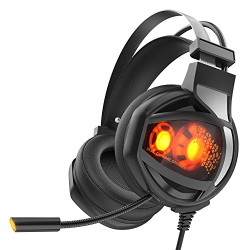 GAKOV Gaming Headset, GAV9 7.1 Stereo Wired Computer Headphones with Micro,LED Light,Bass Surround,Soft Memory Earmuffs for Mac/Computer - Position Earmuffs