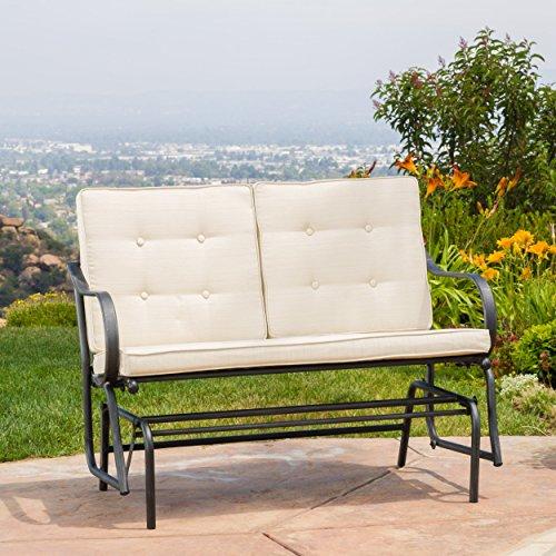 Outdoor Patio Metal Rocker Glider Bench With Beige