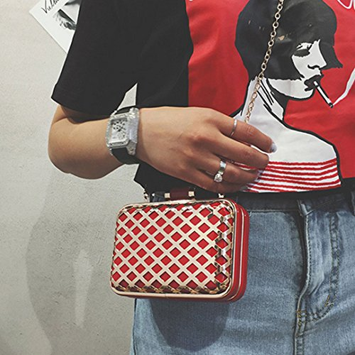 Milya Kleine Metall Umhängetasche PU-Leder Schultertasche Damen Clutch Leder Einfach Handtasche abziehbar Handbag Crossbody Multifunktionale kette-Tasche Rot