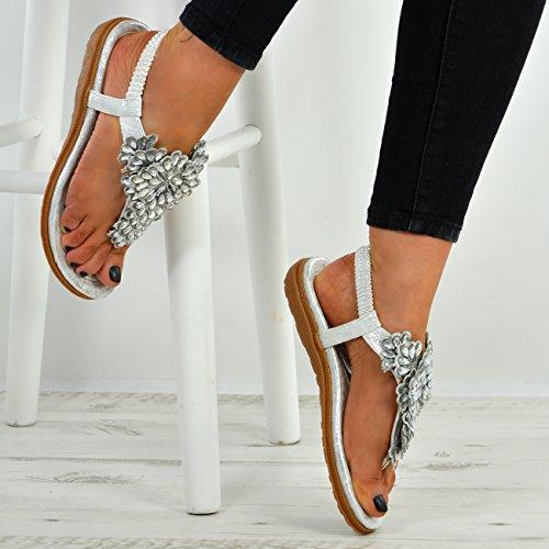Cucu Fashion New Womens Ladies Studded Flower Thong Flat Sandals Peep Toe Sling Back Shoes Silver rmUQBiTAeY