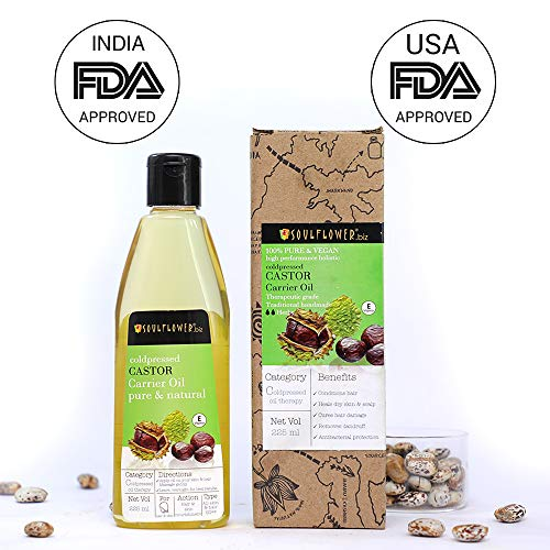 Soulflower Castor oil for hair growth, 100% Natural, Cold pressed, Moisturizing & Healing For Dry...