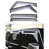 jk rain guards - FMtoppeak 4pcs Smoke Black Window Visor Ran Sun Deflector Shelter Rain Guard Vent Shade for Jeep Wrangler JK 4-Door 2007-2017