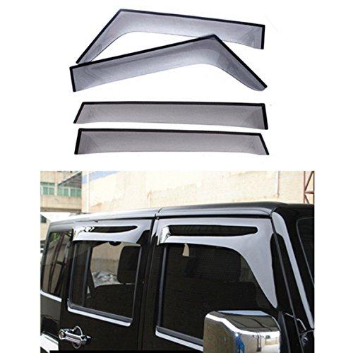 FMtoppeak 4pcs Smoke Black Window Visor Ran Sun Deflector Shelter Rain Guard Vent Shade for Jeep Wrangler JK 4-Door - Shades Ran