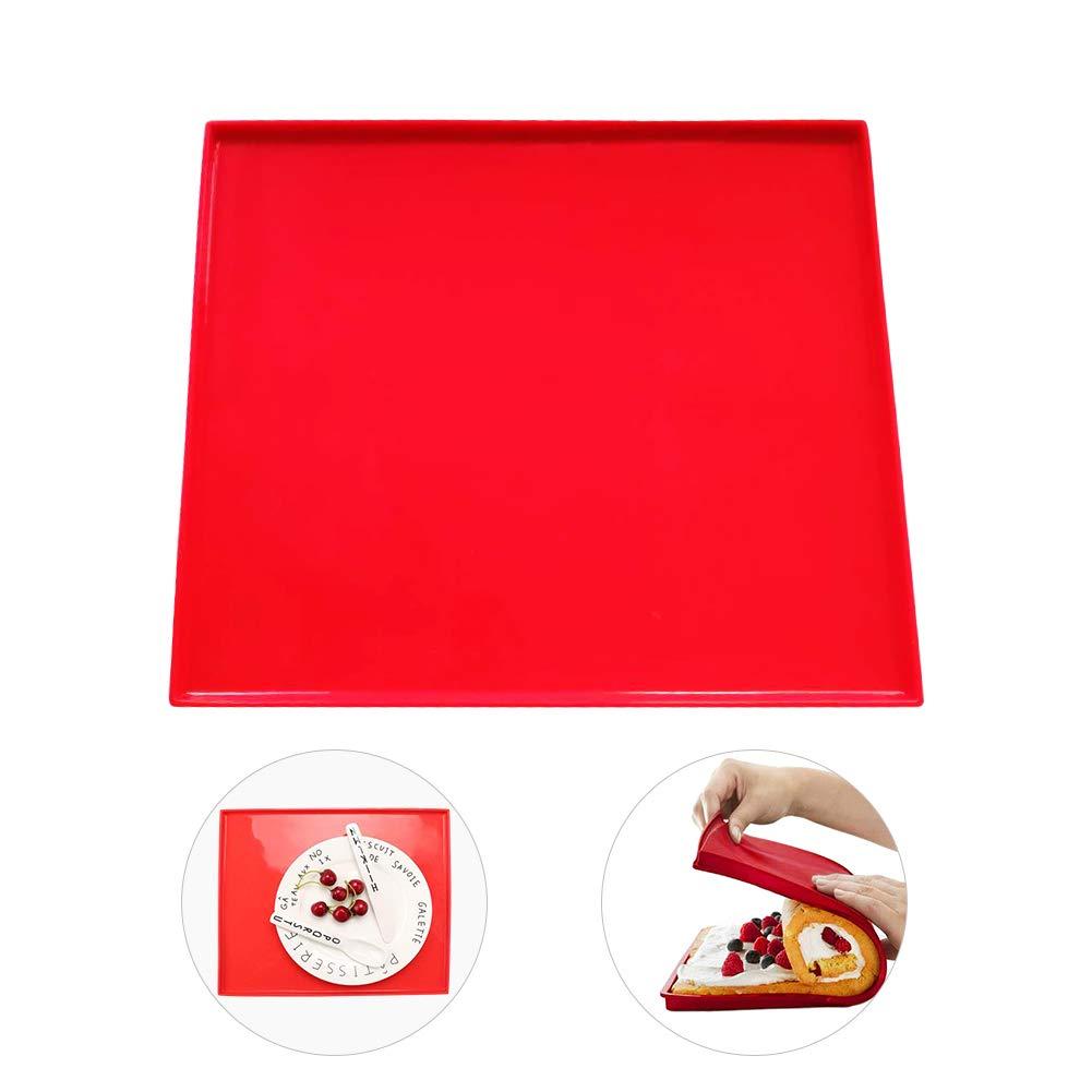 HANGNUO Silikon antihaftbeschichtet Swiss Roll & Rouladen Backblech, 31,5x 27cm, rot 5x 27cm