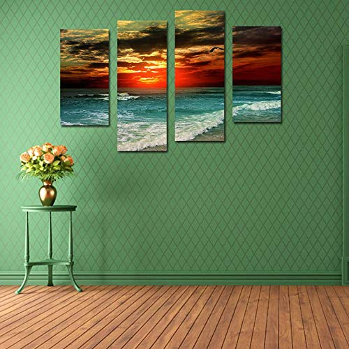 BFY Unframed Modern Oil Painting Sunset Sea Waves Huge Wall Decor Art On Canvas
