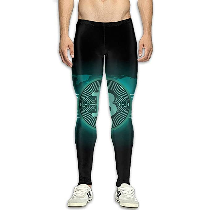 fca814899b5a Amazon.com  indeaxwory Bitcoin Rich Compression Pants Running Tights Panel  Leggings Men Cold Weather White  Clothing