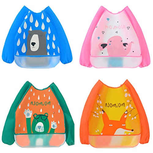 Clean Coverall - 4 Pack Waterproof Feeding Bib Painting Apron,Washable Long Sleeves Eat and Play Smock with Front Pocket for Spills, Unisex EVA Coverall for 0-3 Year Baby Infant Toddler