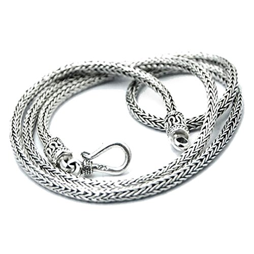 BluSilver 925 Sterling Silver Tulang Naga Chain Necklace Handmade in Bali 2.5 mm (18.00)