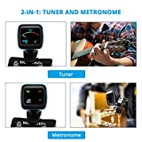 Guitar Tuner, Atmoko 2-in-1 Clip-on Tuner and Metronome for Guitar, Ukulele, Bass, Violin and Chromatic, Clear LCD Colorful Display, 5 Guitar Picks & Battery Included