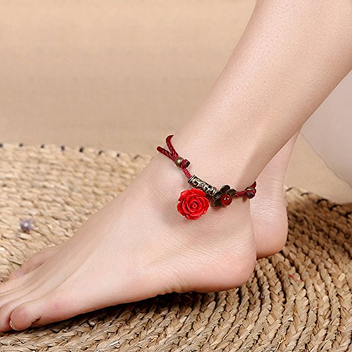 Carving Hand Agate Red (TKHNE Original hand-woven red agate retro fashion personality student Foot chain lacquer carving flowers women girls national wind Foot Chain anklet ankle chain)