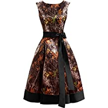 Gorgeous Bridal Affordable Knee-Length Round-Neck Sash Camo Prom Homecoming Dress