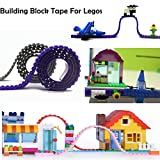 LattoGe Silicone Building Blocks Bricks Tape Kids Birthday Party for Legos Figure Loops Construction Toys Wall Desk Table 3M Sticker,Child Room Art Decoration Compatible Baseplate (Red+Orange)