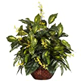 Nearly Natural 6644 Forsythia and Mixed Greens Decorative Silk Plant, Green