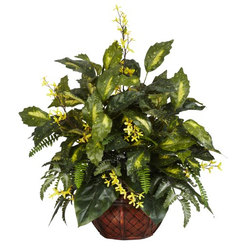 Nearly Natural 6644 Forsythia and Mixed Greens Decorative Silk Plant, Green by Nearly Natural