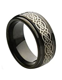 9mm Step Edge Black Plated Laser Engraved Celtic Knot Pattern Tungsten Carbide Wedding Band