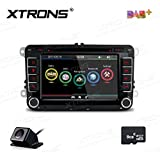 XTRONS 7 Inch HD Digital Touch Screen Dual CANbus Car Stereo Radio DVD Player GPS Screen Mirroring Function Built-in DAB+ Western Europe Kudos Map Reversing Camera for Volkswagen Skoda Seat