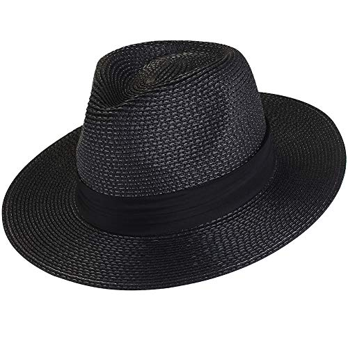 FURTALK Panama Hat Sun Hats for Women Men Wide Brim Fedora Straw Beach Hat UV UPF 50 Black ()