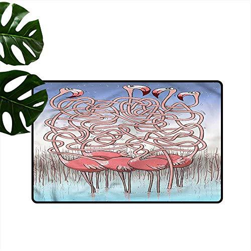 DUCKIL Welcome Door mat Fun Flamingos Maze Game Joy Easy to Clean Carpet W35 xL47
